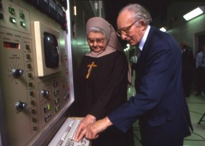 EWTN Foundress Mother Angelica gets ready to launch the Network's first shortwave broadcast with EWTN Benefactor Piet Derksen, who made the construction of the shortwave radio station possible!