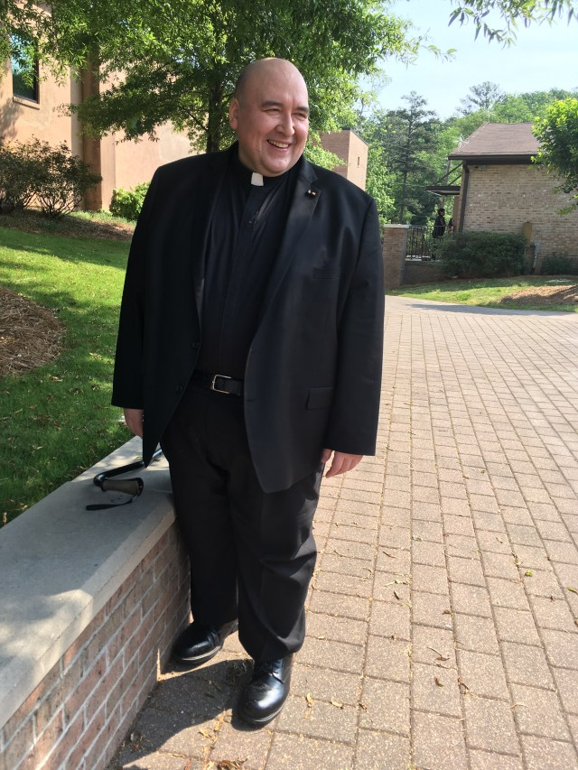 Father Horgan outside