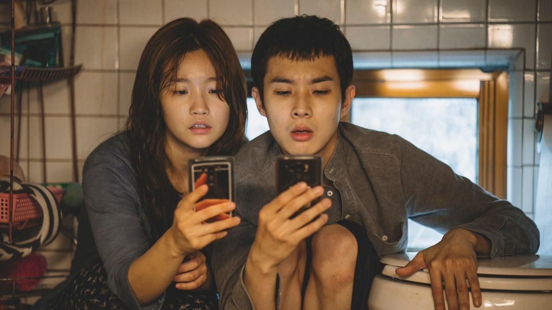 Ki-jung Kim So-dam Park and Ki-woo Park Woo-sik Choi in Parasite_rgb