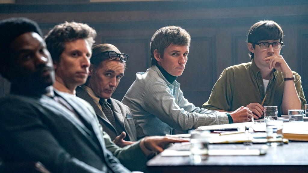 "Eddie Redmayne ""The Trial of the Chicago 7"""