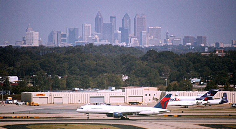 Atlanta airport with city skyline