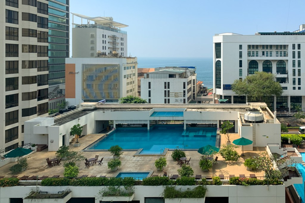 Spa and fitness center rooftop pool