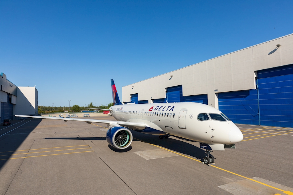 First Airbus A220 out of paint shop (Source: Delta)