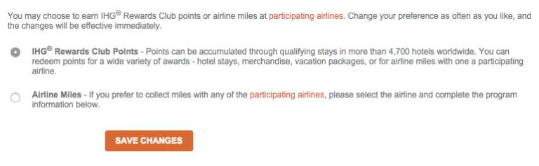 American Airlines Miles Verdienen - IHG Earning Preference