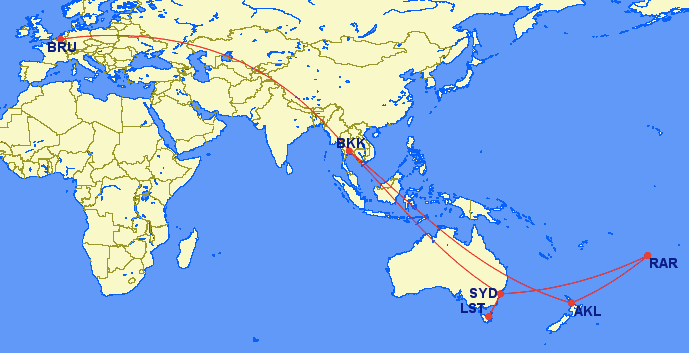 Wereldreis, kaart, Sydney, Australie, Auckland, Tasmanie, Nieuw-Zeeland, Cookeilanden, rarotonga