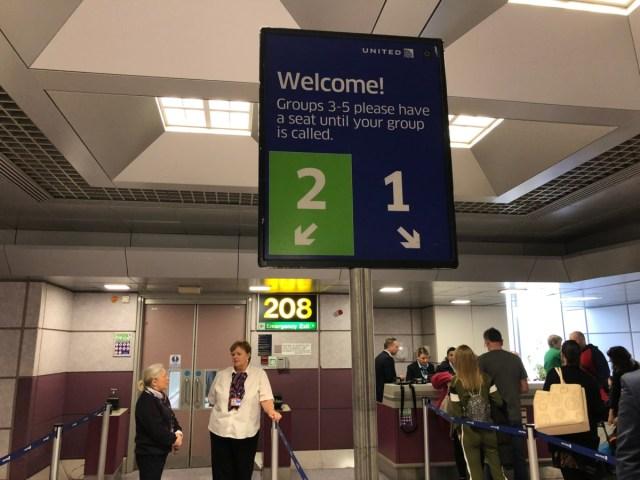 united airlines, groepen, boarden