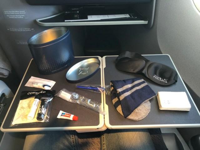 amenity kit, united airlines, polaris