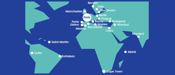 Het netwerk van Joon vanuit hub Parijs (CDG) (Bron: Joon / Air France)