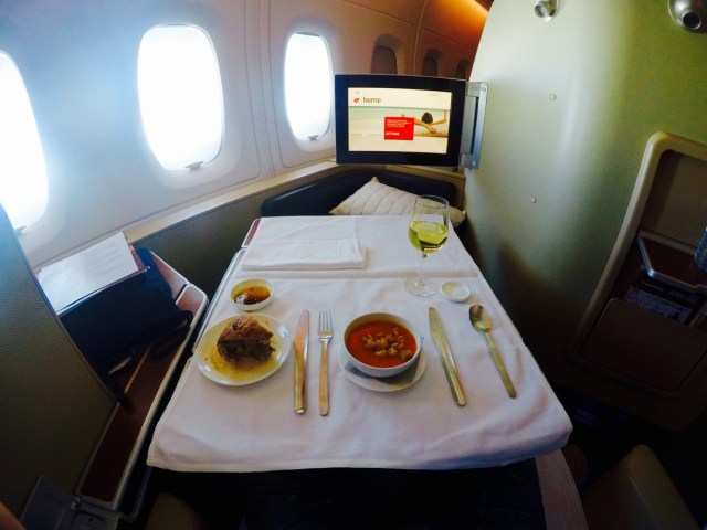 Qantas, first class, a380, voorgerecht