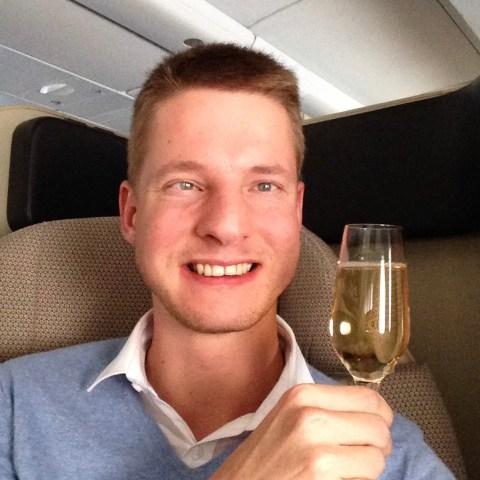 qantas, a380, first class, champagne