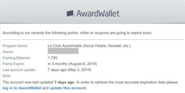 AwardWallet email waarschuwing