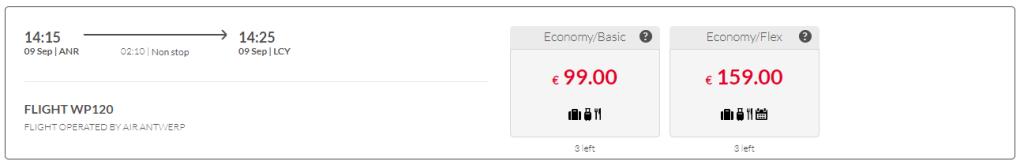 Air Antwerp via eigen website
