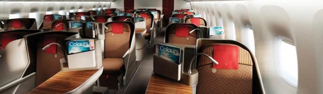 De Business Class cabine aan boord van de Boeing 777 van Garuda Indonesia (Bron: Garuda Indonesia)