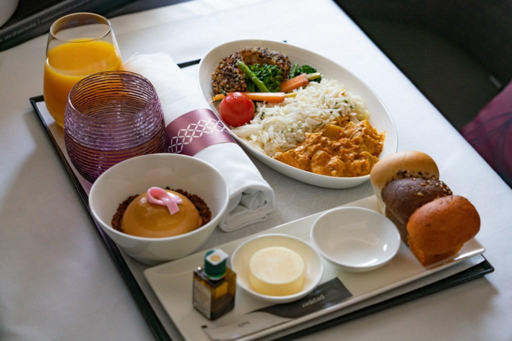 Qatar Airways Vegan Maaltijd