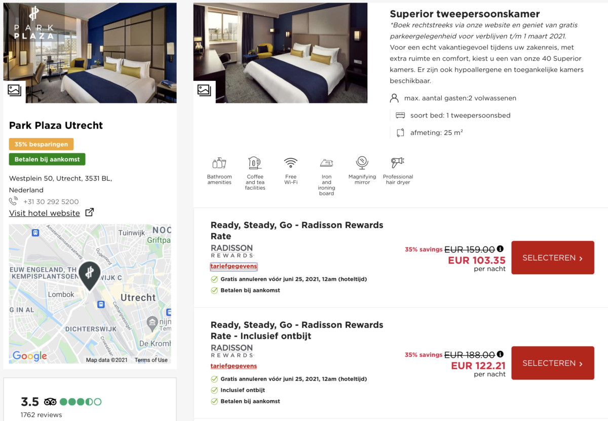 Ook bij het Park Plaza Utrecht krijg je 35% korting op het best beschikbare tarief (Bron: Radisson Hotels / Park Plaza)