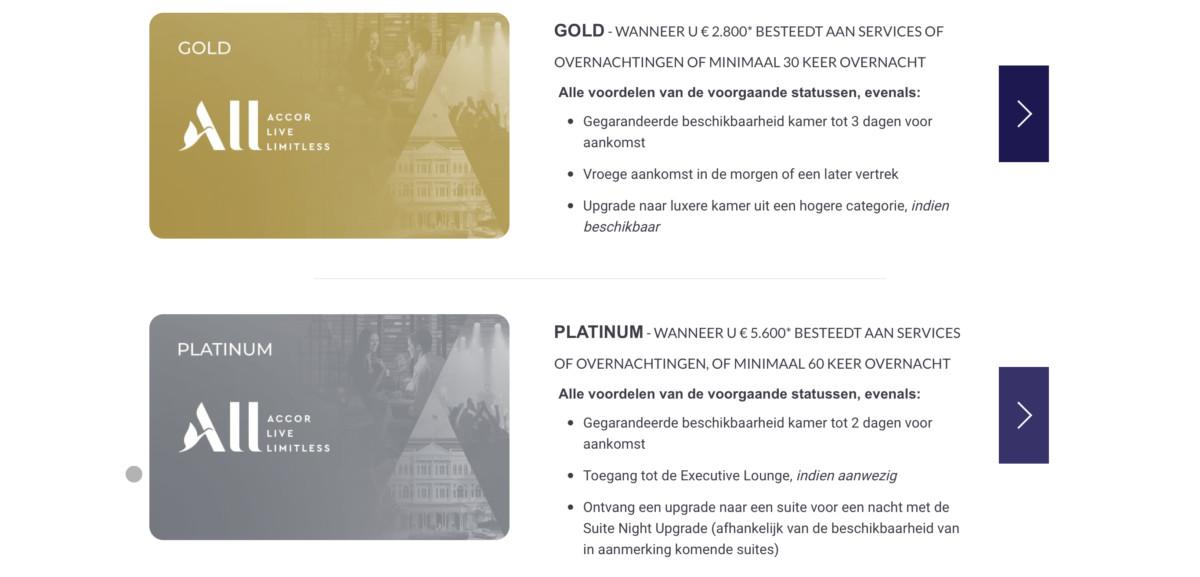 Met de Accor ALL Gold of Platinum status profiteer je van interessante privileges (Bron: Accor)
