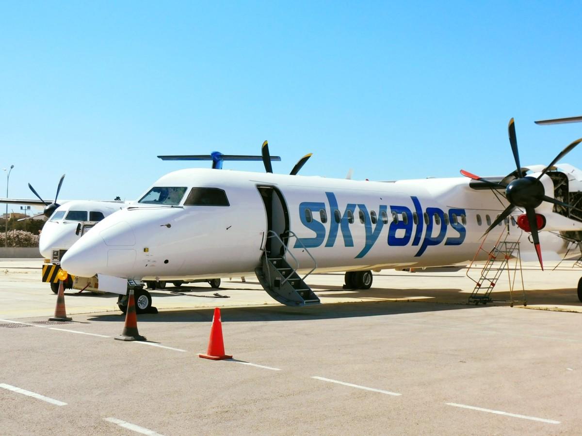 Skyalps vliegt met twee De Havilland Canada Dash 8-400 toestellen van Luxwing (Bron: Skyalps)