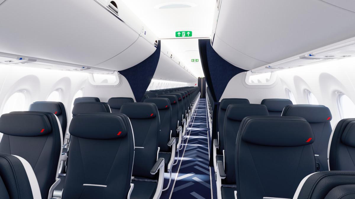 De A220 Business Class cabine van Air France biedt net iets meer privacy dan bij KLM (Bron: Air France)