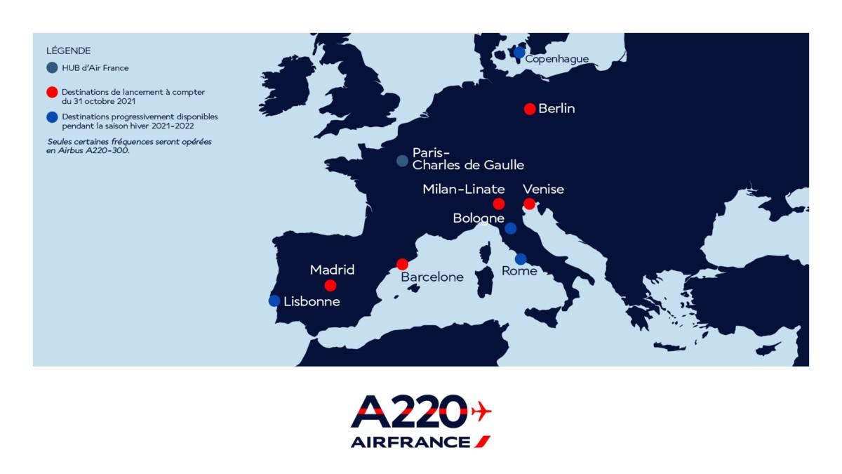 De eerste bestemmingen van de A220 (Bron: Air France op Twitter)