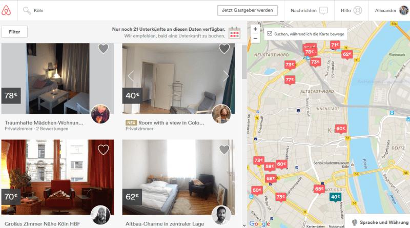 Airbnb Suche in Köln