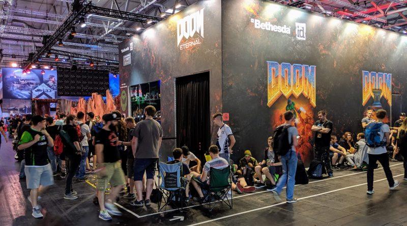 gamescom 2019, Warteschlange für Doom Eternal am Bethesda Stand