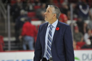 10 Nov 2014 Calgary Flames Head Coach Bob Hartley in the game between the Calgary Flames and the Carolina Hurricanes at the PNC Arena in Raleigh, NC. Carolina defeated Calgary 4-1.