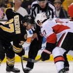 Dec 13, 2014; Face-off between Ottawa Senators center David Legwand (17) and Boston Bruins center Patrice Bergeron (37) during an NHL game in the TD Garden in Boston. (Photo: Brian Fluharty)