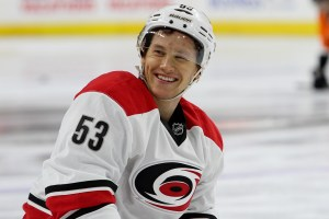 Left Wing Jeff Skinner (#53) of the Carolina Hurricanes smiles during the warm-ups