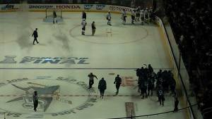 The Sharks celebrated on the ice after taking Game 3 of the Stanley Cup Final with a 3-2 win in overtime.