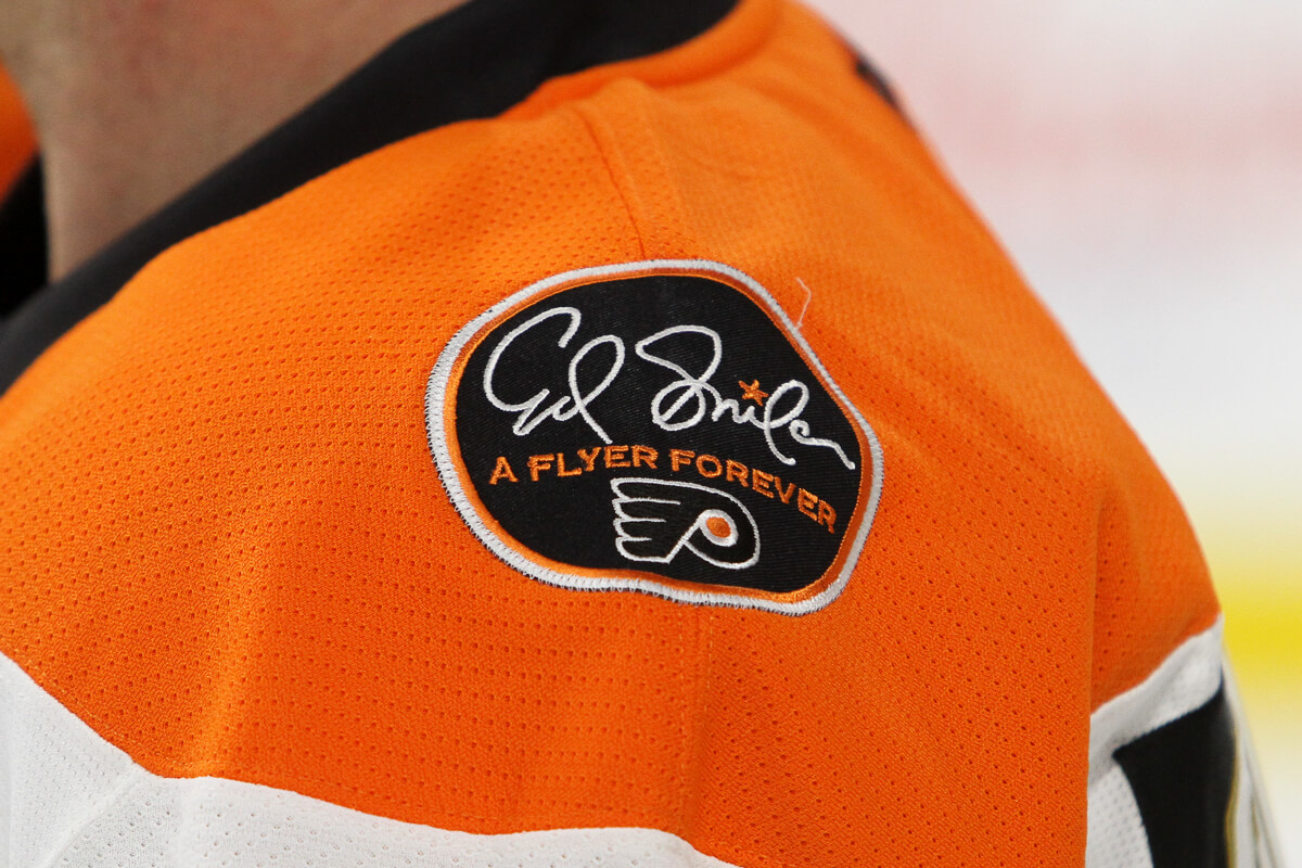 the philadelphia flyers jerseys adorned with an ed snider a flyer forever patch on the left shoulder