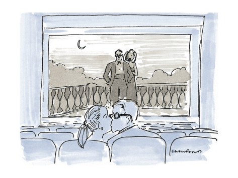 michael-crawford-couple-kissing-in-movie-theater-as-couple-on-screen-watch-them-new-yorker-cartoon