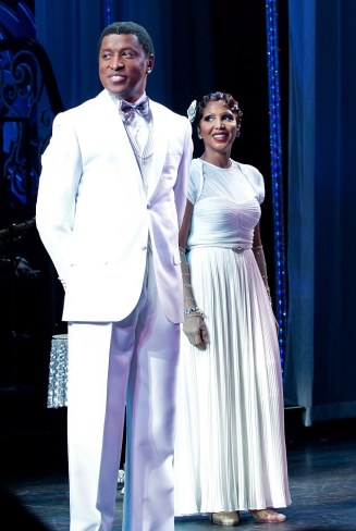"""Toni Braxton and Kenny """"Babyface"""" Edmonds Curtain Call in """"After Midnight"""" on Broadway-NY"""