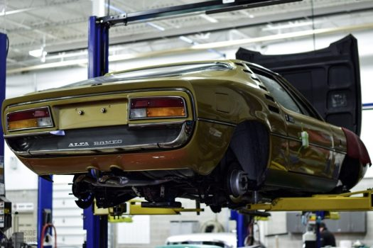 Alfa Romeo Montreal in the shop at Engineered Automotive.