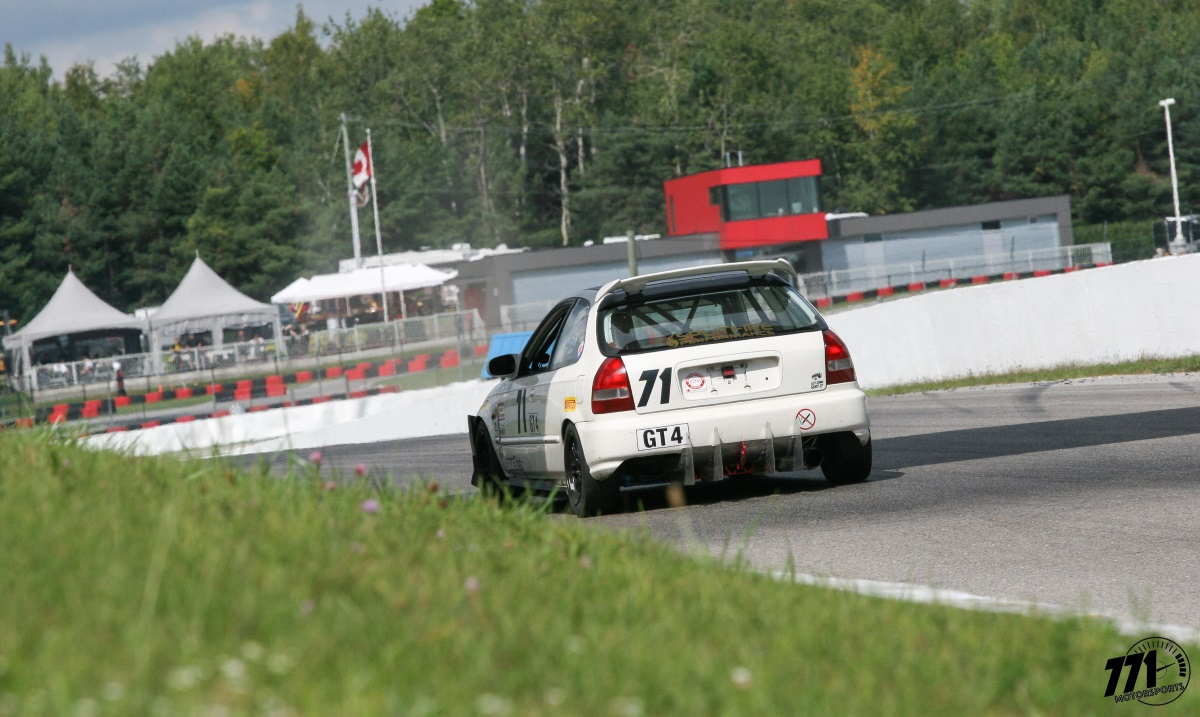 771 Motorsports and their Honda Civic EK hatchback racecar at the 2018 BEMC Indian Summer Trophy race weekend, competing in Pirelli GT Sprints GT4.