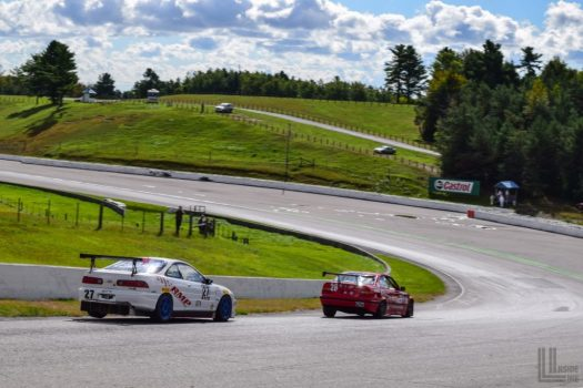 Acura Integra Type R vs. BMW E36 3 Series GT4 battle - 2018 Celebration of Motorsport, final round of the CASC Pirelli GT Sprints championship.