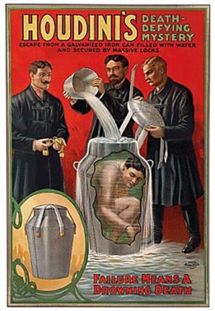 Inside Magic Image of Wonderful Poster Promoting Harry Houdini's Incredible Milk Can Escape - Failure Means a Drowning Death