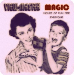Inside Magic Image of Mom and Son Enjoying Latest Installment of GAF View-Master Magic Disk of the Month Club!