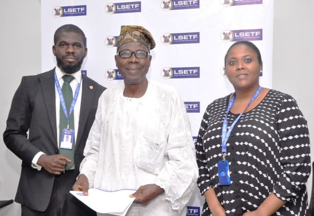 L-R: Executive Secretary, Lagos State Employment Trust Fund (LSETF), Mr. Akin Oyebode; Successful Applicant of the Employment Trust Fund, Mr. Ganiyu Ayantunde and Director, Strategy Funding & Stakeholder Engagement, LSETF, Mrs. Abosede Alimi during the distribution of Offer Letters to beneficiaries of the N25 Billion Employment Trust Fund (ETF) Pilot Scheme at the LSETF Office, Oregun, Ikeja, on Friday, December 30, 2016.
