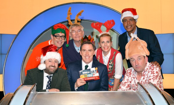 WARNING: Embargoed for publication until 00:00:01 on 22/11/2016 - Programme Name: Would I Lie to You at Christmas? 2016 - TX: n/a - Episode: n/a (No. n/a) - Picture Shows: (L-R) David Mitchell, Richard Osman, Tom Courtenay, Rob Brydon, Sara Pascoe, Chris Kamara, Lee Mack - (C) Endemol Shine UK - Photographer: Brian Ritchie