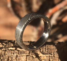 Titanium Damascus Ring