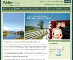 The new website for Whitestone Country Inn, Tennessee.