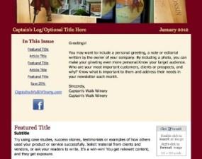 Captain's Walk Winery - e-newsletter