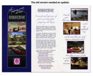 The old bifold brochure was dark and blocky.