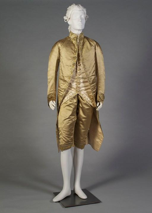 1770s man's embroidered silk satin suit, KSUM 1983.1.22
