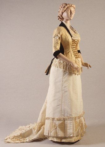 Gold silk and blue velvet dress, ca. 1880, KSUM 1995.49.1 a-c.