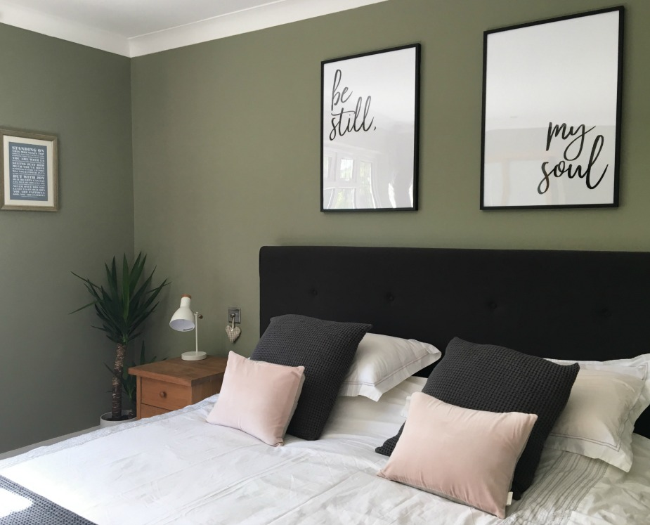 Overtly Olive in a bedroom