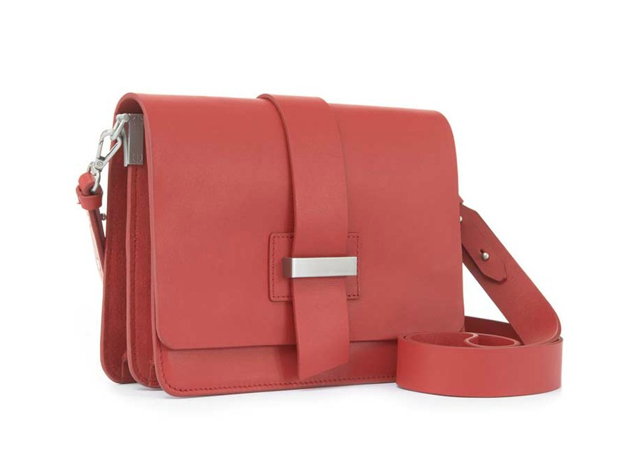 Mint Velvet Red Structured Cross Body Bag