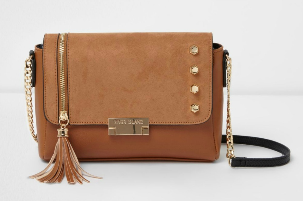 Beige studded tassel cross body bag River Island