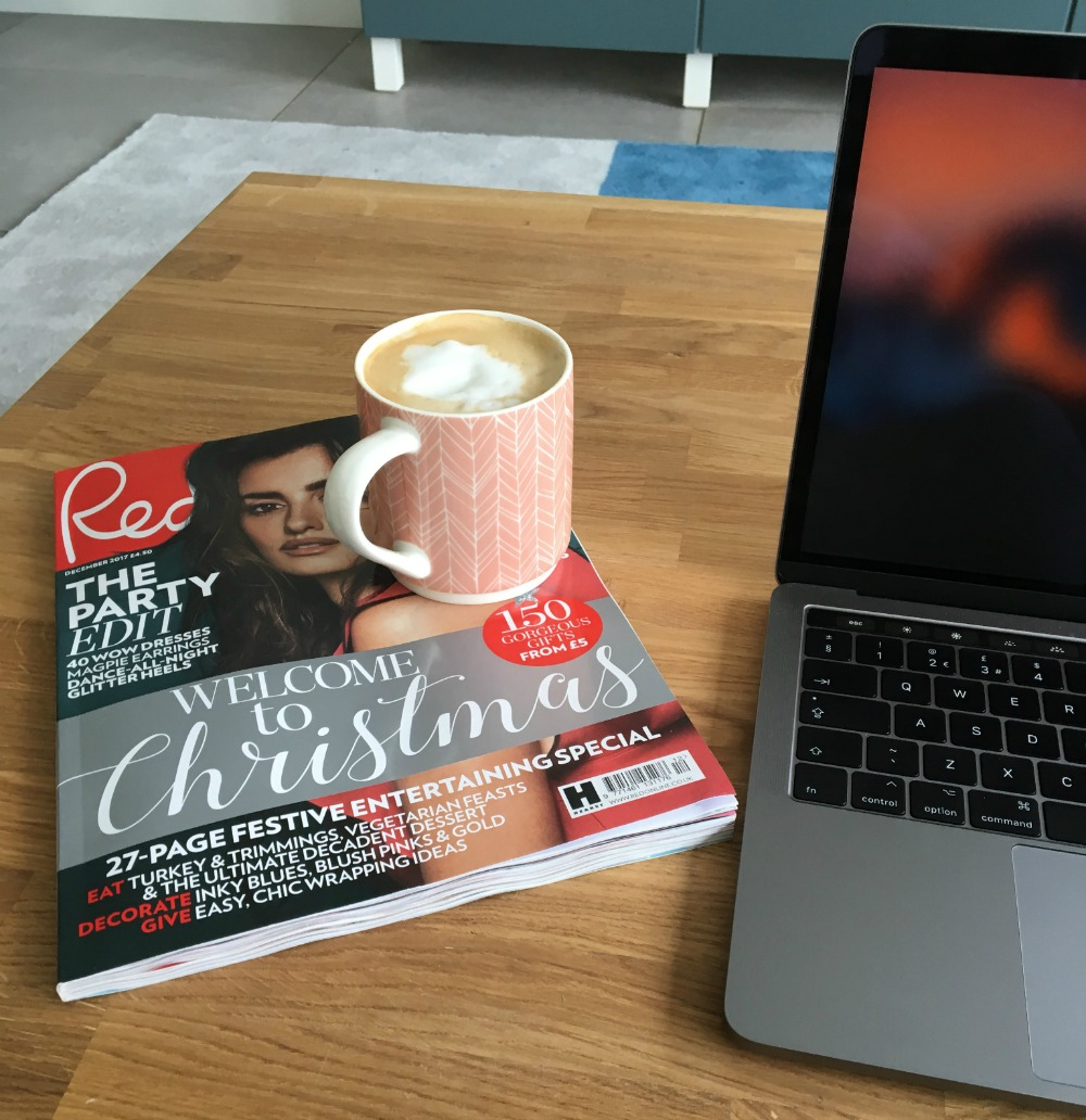 red magazine and coffee