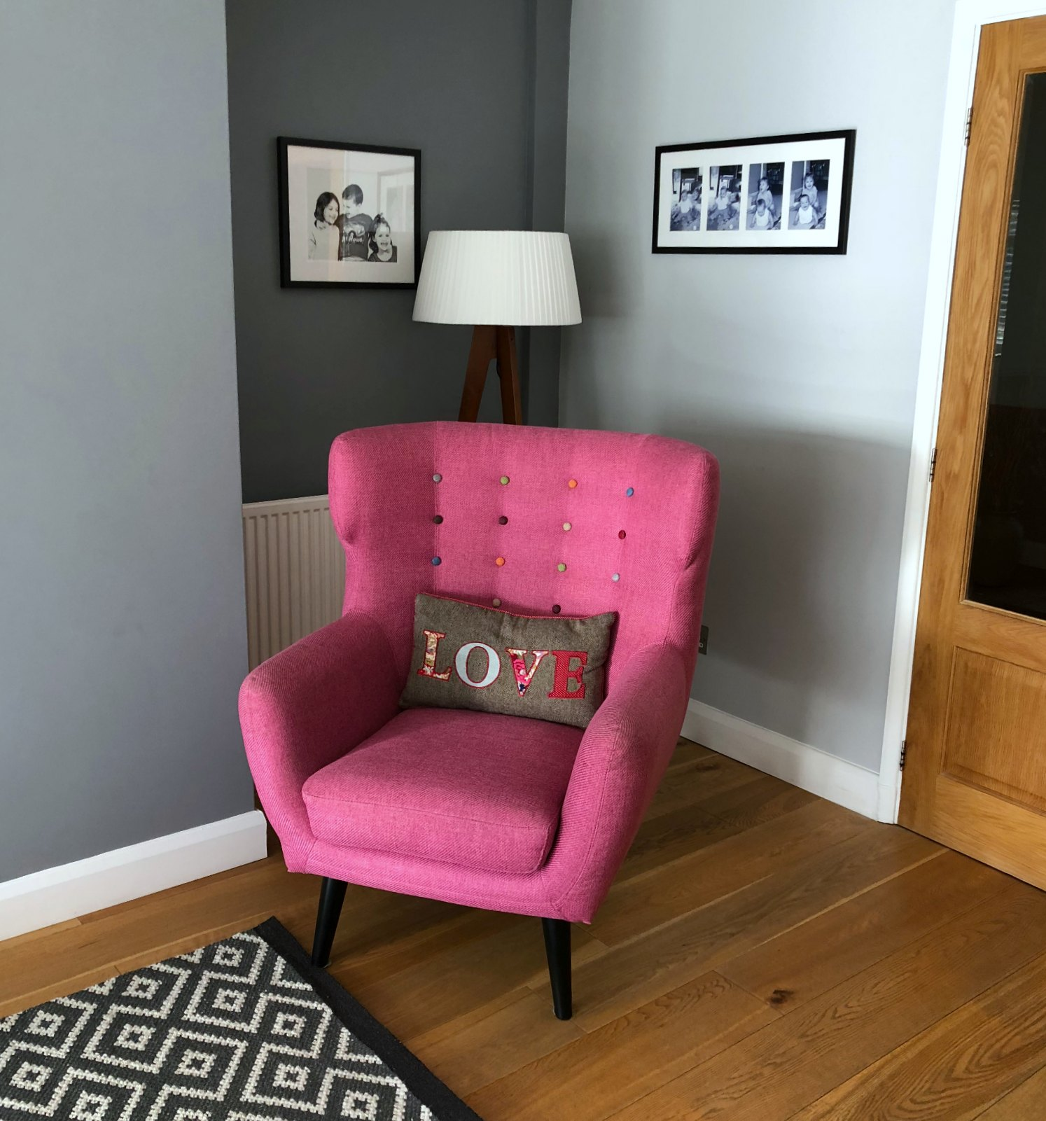 bright pink made.com chair